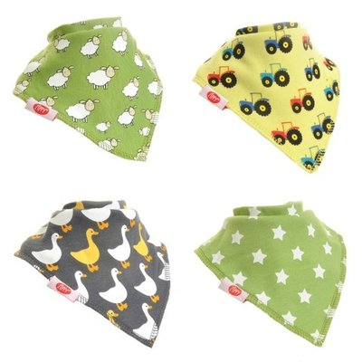 Ziggle Boys farm fun bandana bibs