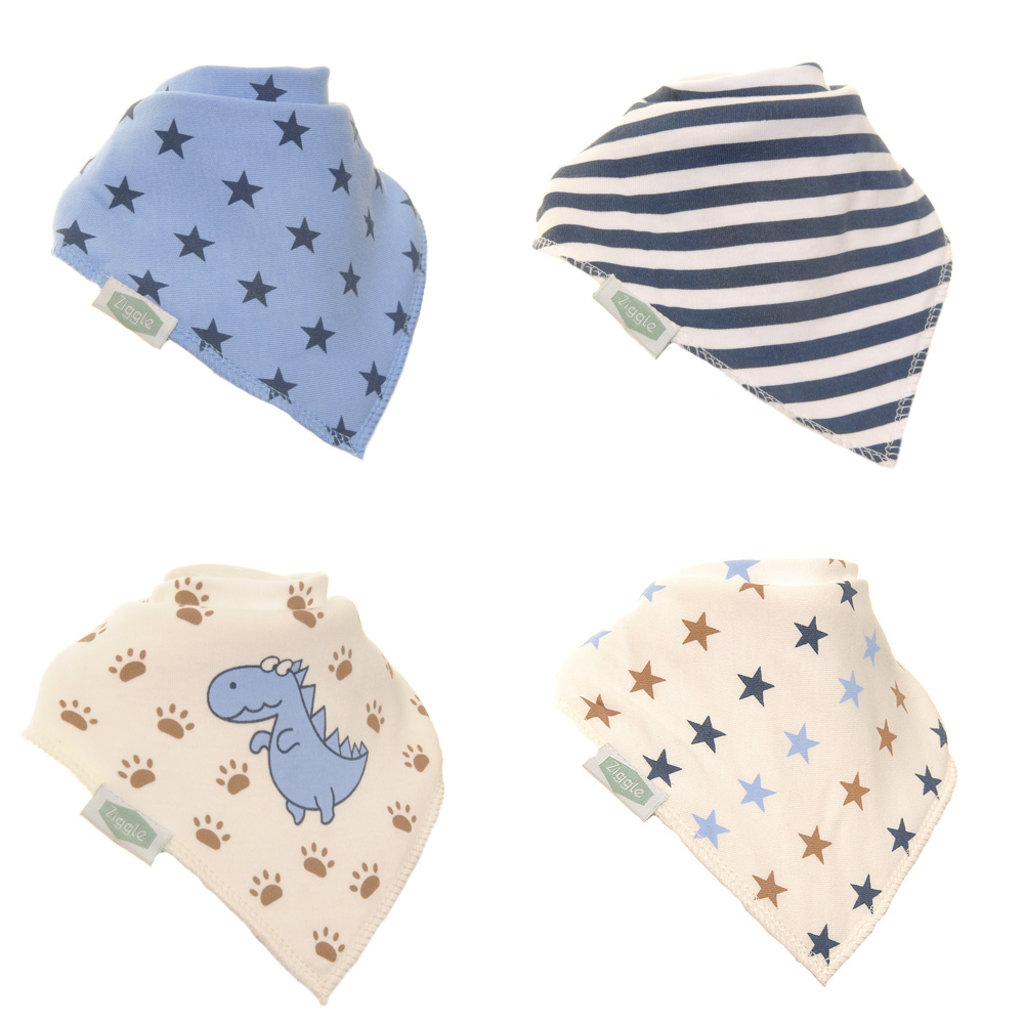 Ziggle Bandana Dribble Bibs Dino and Stars