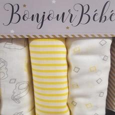 Bonjour Bebe Muslin Squares 3pk Lemon