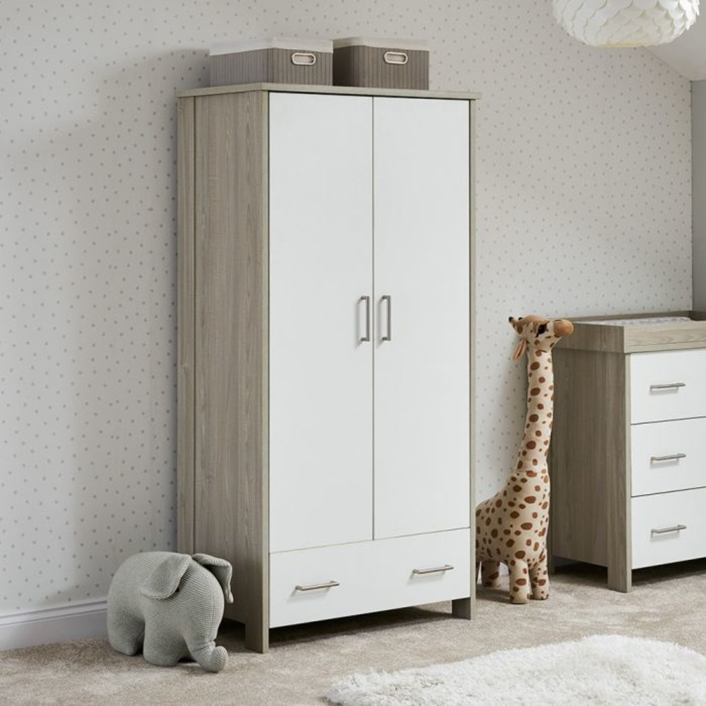 Obaby Obaby Nika Double Wardrobe – Grey Wash with White