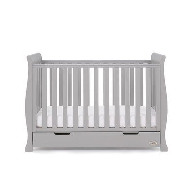 Obaby Stamford Sleigh Mini Cot Bed - Warm Grey