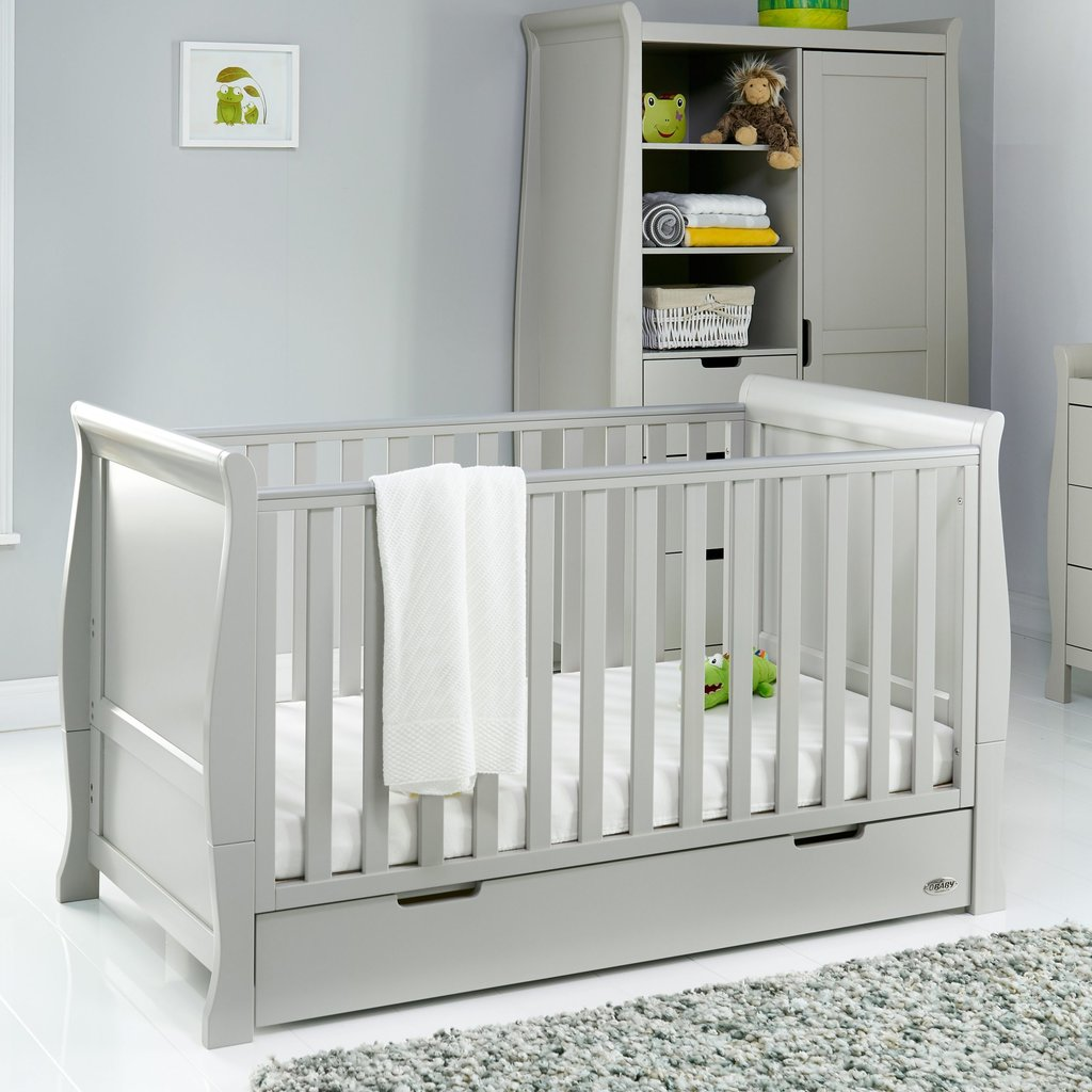 Obaby Obaby Stamford Classic Sleigh Cot Bed – Warm Grey