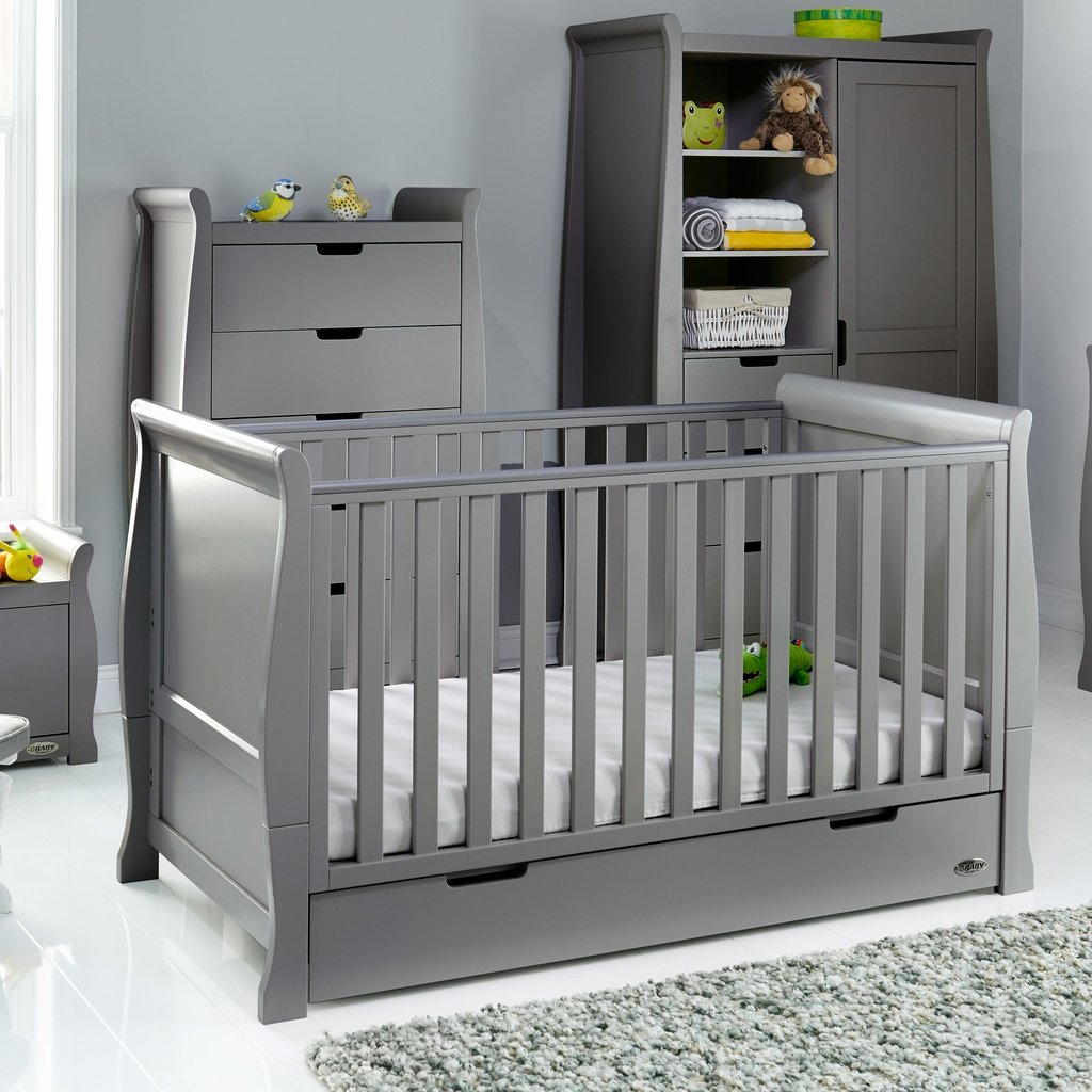Obaby Obaby Stamford Classic Sleigh Cot Bed – Taupe Grey