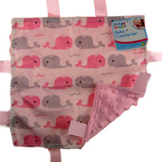 First Steps Blue/Pink Whale Baby Comforter Taggie