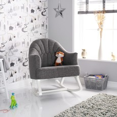Obaby Obaby - Round Back Rocking Chair – White with Grey Padded Seat