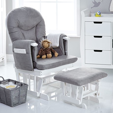 Obaby Obaby - Reclining Glider Chair and Stool – White with Grey Cushion