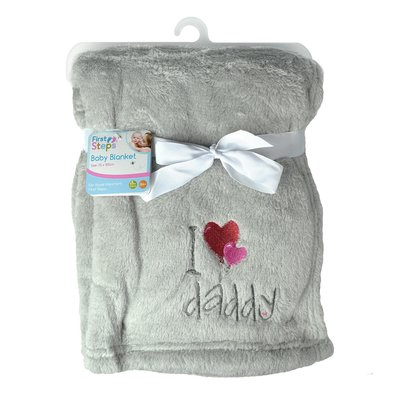 First Steps Super Soft I Love Daddy Baby Blanket - Grey