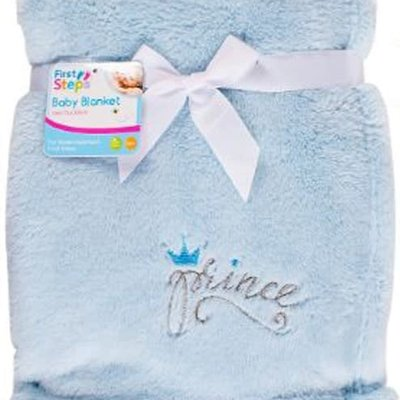 First Steps Prince Fleece Baby Blanket- Blue