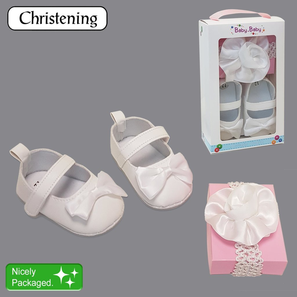 Baby Bow Boxed Christening Shoe & Head Band Set