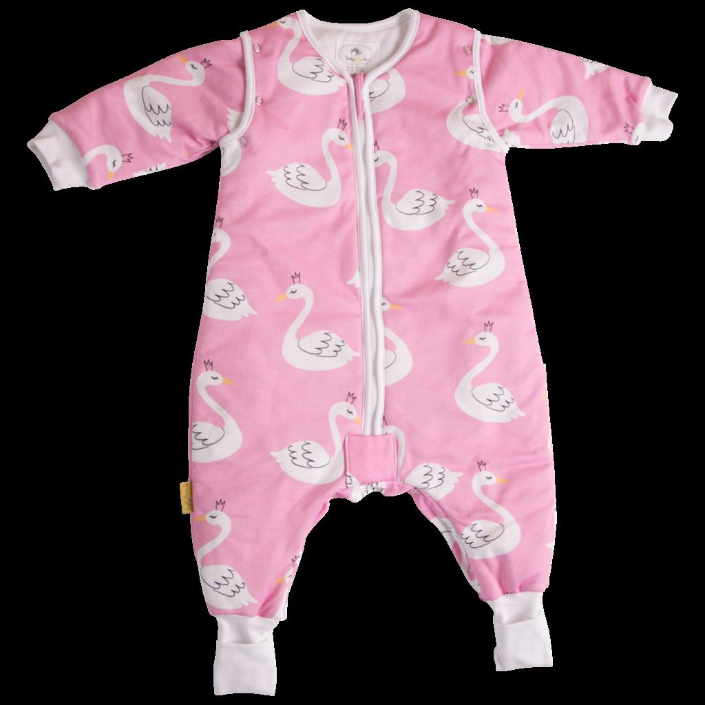 Babyboo Snuggleboo Sleepsuit Pink Swans 1tog- 1-2yrs