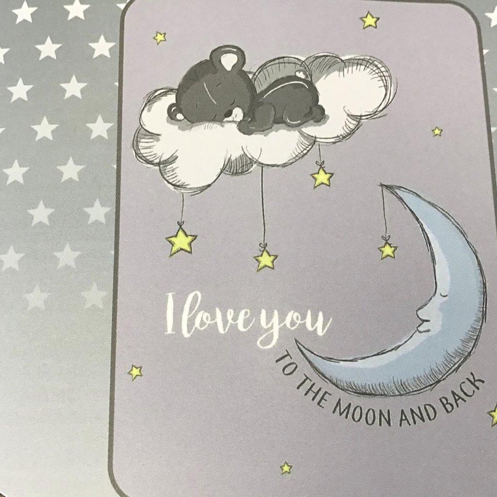 Itsy Bitsy Moon And Back Bear Baby Blanket- Grey