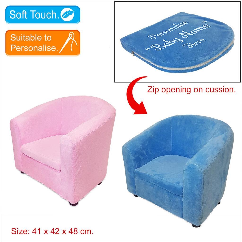 Velour Plush Armchair - Blue