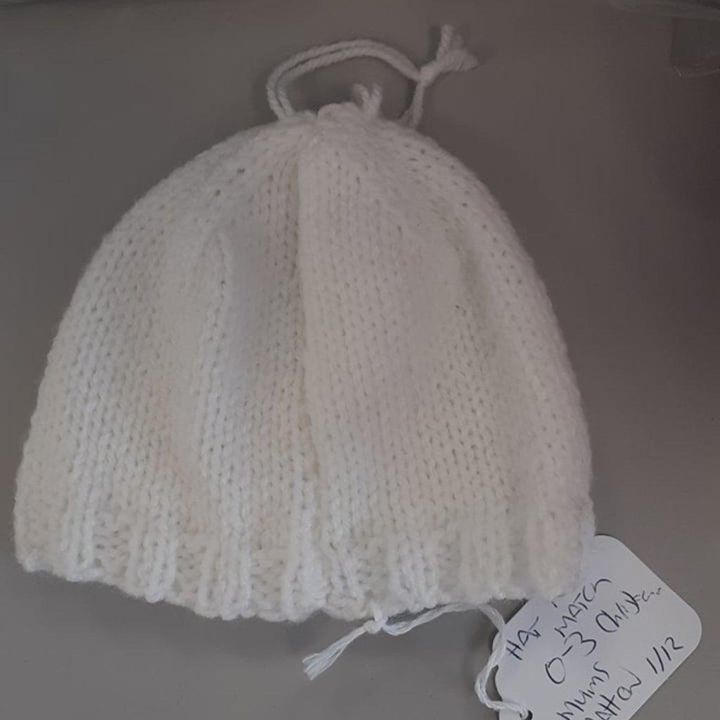Christening Hat 0-3m Pattern White