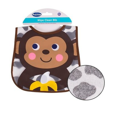 Premia Baby Monkey Wipe Clean Bib