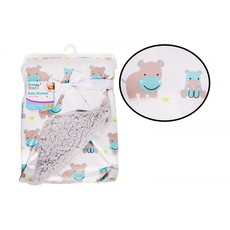 First Steps Sherpa Baby Blanket Hippo Blue