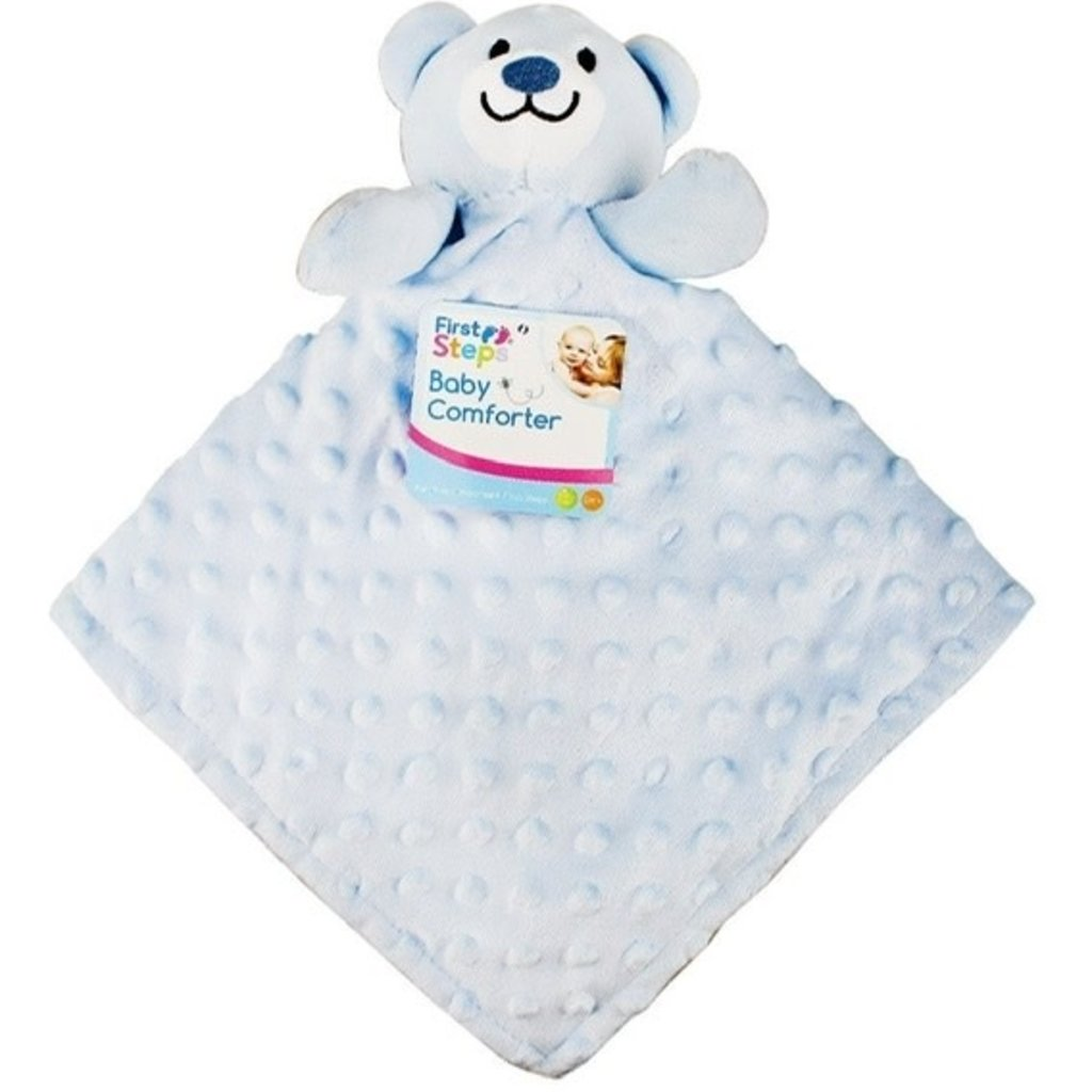 First Steps Baby Comforter  Blue Teddy Dimple