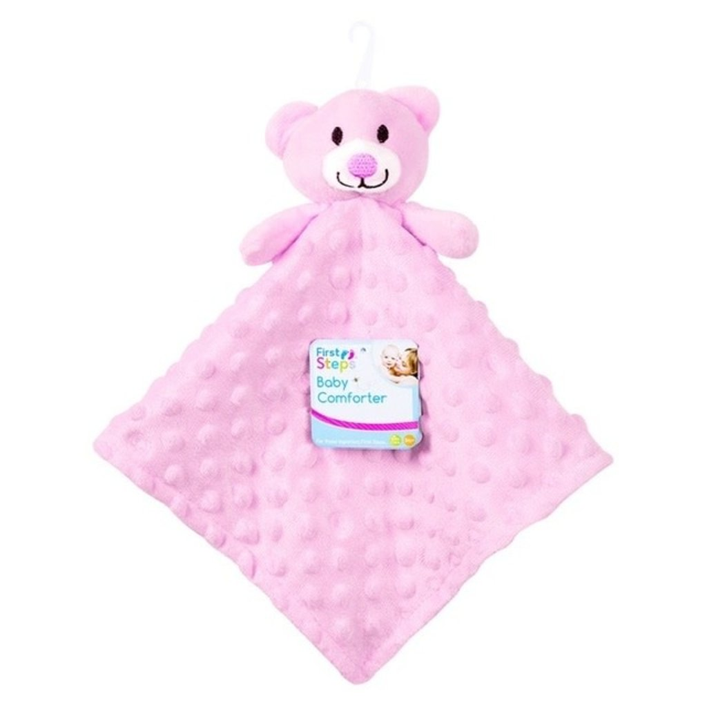 First Steps Baby Comforter Pink Teddy Dimples