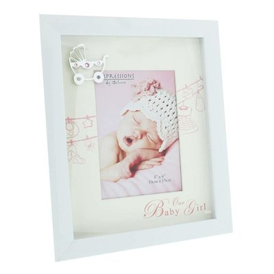 Celebrations White Baby Frame with Mount & Icon- Baby Girl