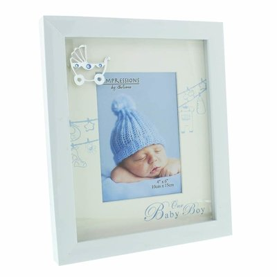 Celebrations White Baby Frame with Mount & Icon- Baby Boy
