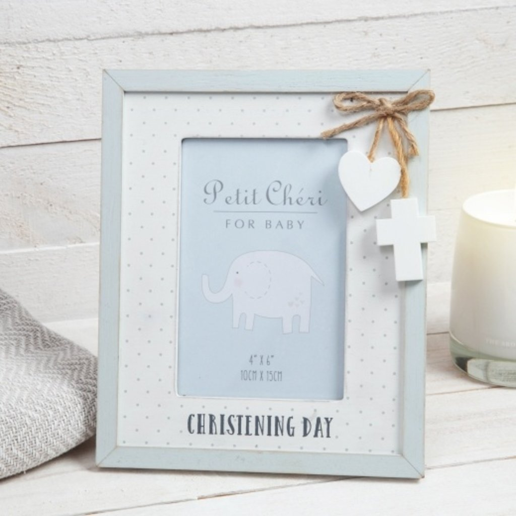 "Petit Cheri Petit Cheri Christening Photo Frame Blue 4"" x 6"""