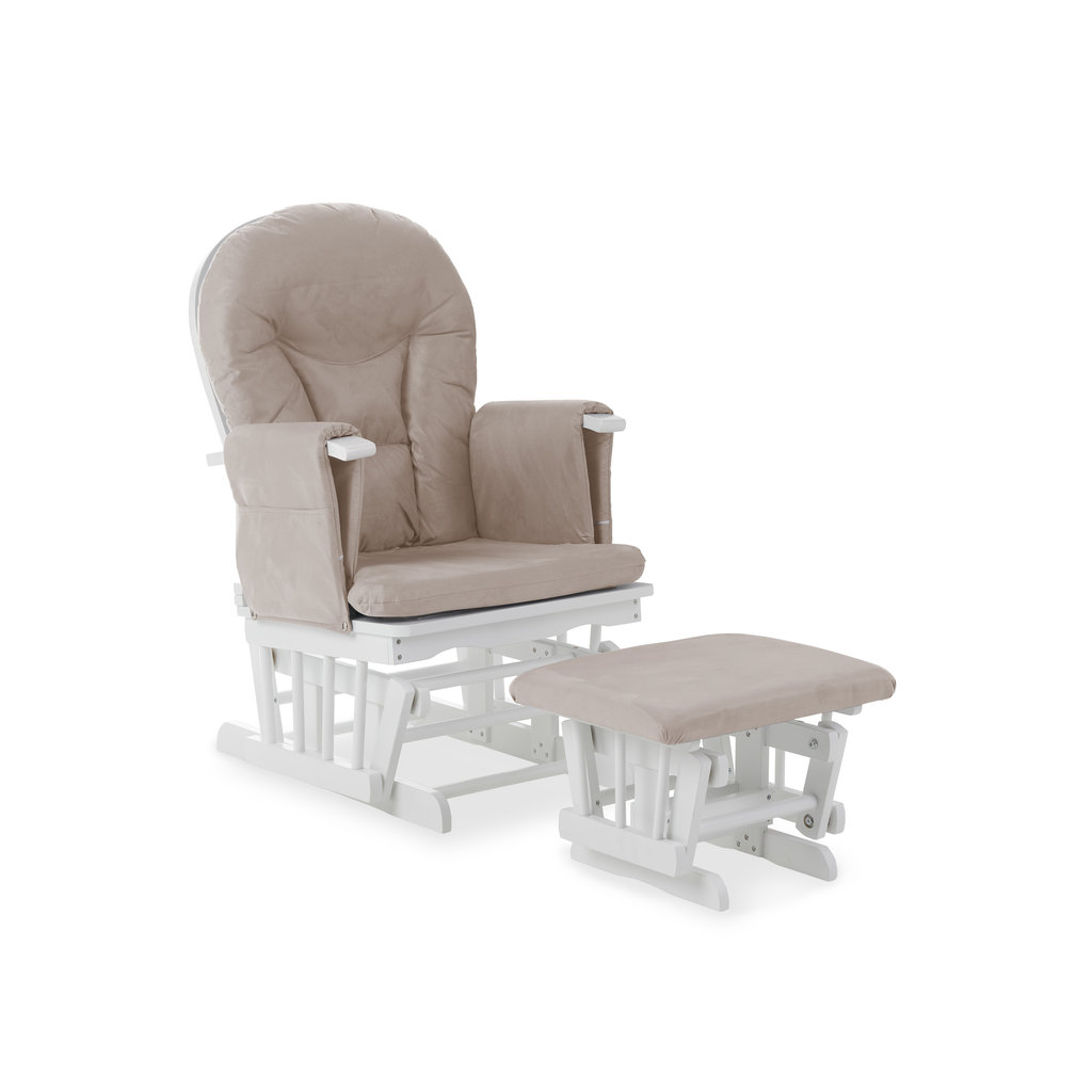 Obaby Obaby - Reclining Glider Chair And Stool -White With Sand Cushion