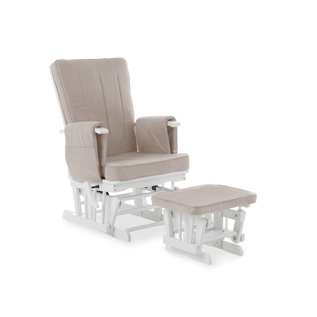 Obaby Obaby - Deluxe Reclining Glider Chair And Stool - White With Sand Cushion