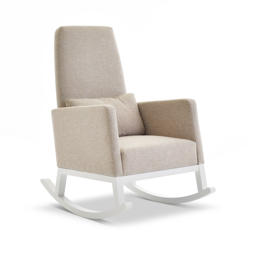 Obaby Obaby - High Back Rocking Chair – White With Oatmeal Cushion