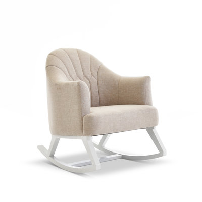 Obaby Obaby - Round Back Rocking Chair – White with Oatmeal Padded Seat