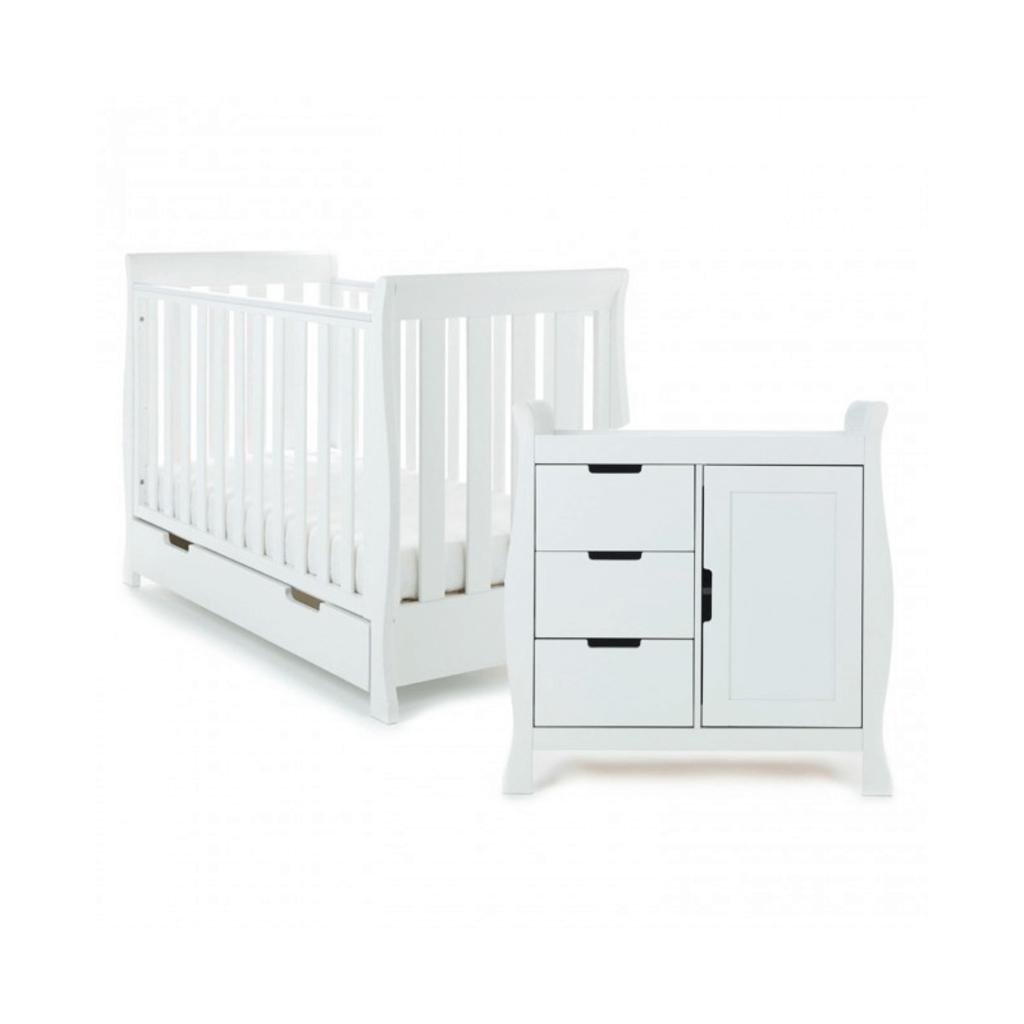 Obaby Obaby Stamford Mini Sleigh 2 Piece Room Set - White