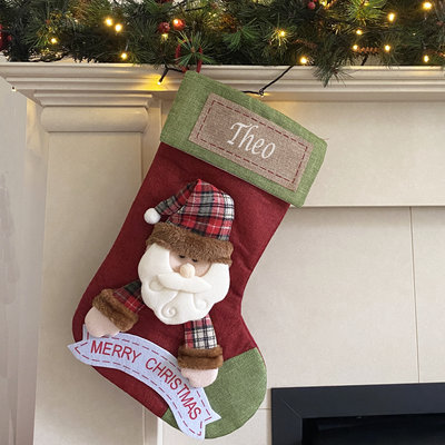 Christmas Stocking with Name Plate