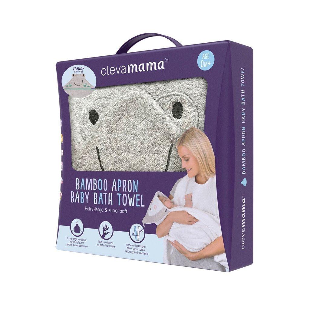 Clevamama Clevamama Bamboo Apron Baby Bath Towel  Grey Franky the Frog