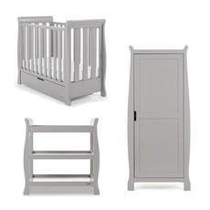 Obaby Stamford Space Saver Sleigh 3 Piece Room Set – Warm Grey