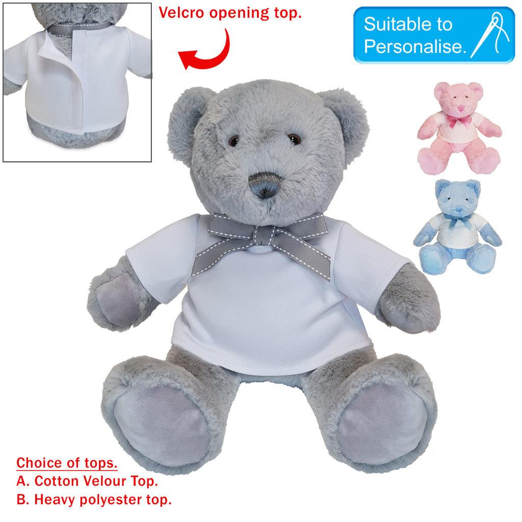 Baby Bow Soft Teddy - Grey