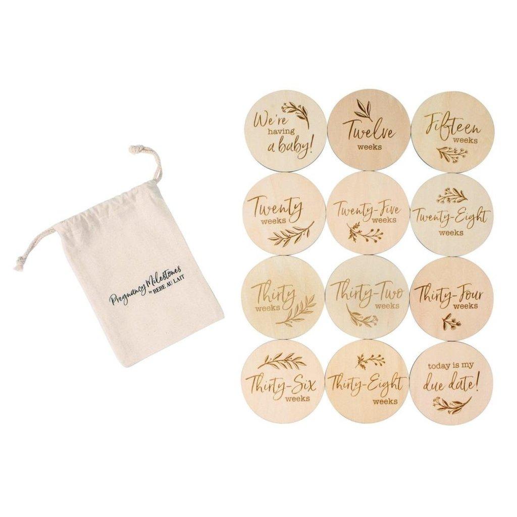Bebe au Lait Pregnancy 12 piece Set Wooden Bebe Sayings Disc