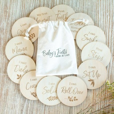 Bebe au Lait Baby's Firsts 12 piece Set Wooden Bebe Sayings Disc