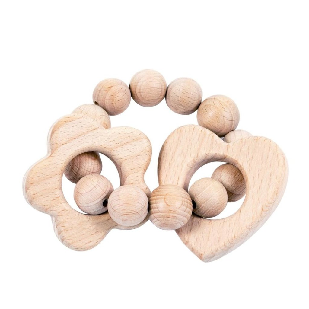 Bebe au Lait Heart and Flower Wooden Bebe Teether