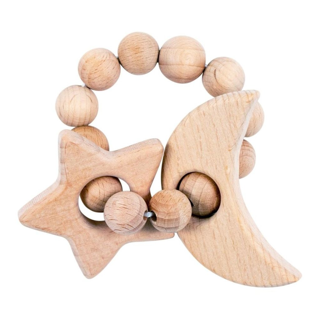 Bebe au Lait Moon and Star Wooden Bebe Teether