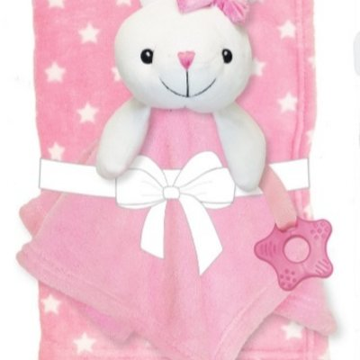 Baby.Baby Bunny Blanket, Comforter with Teething Ring