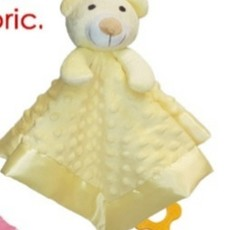 Baby.Baby Lemon Dimple Comforter, Satin Trim & Teether
