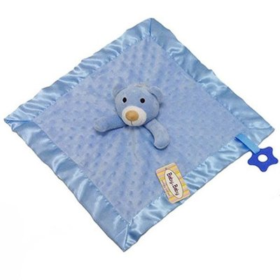 Baby.Baby Blue Dimple Comforter, Satin Trim & Teether