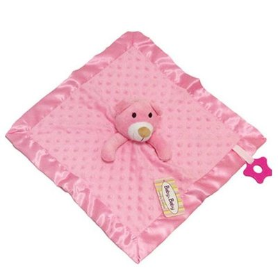Baby.Baby Pink Dimple Comforter, Satin Trim & Teether