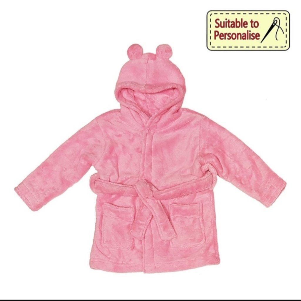 Baby Bow Pink Hooded Fleece Robe 0-6 m