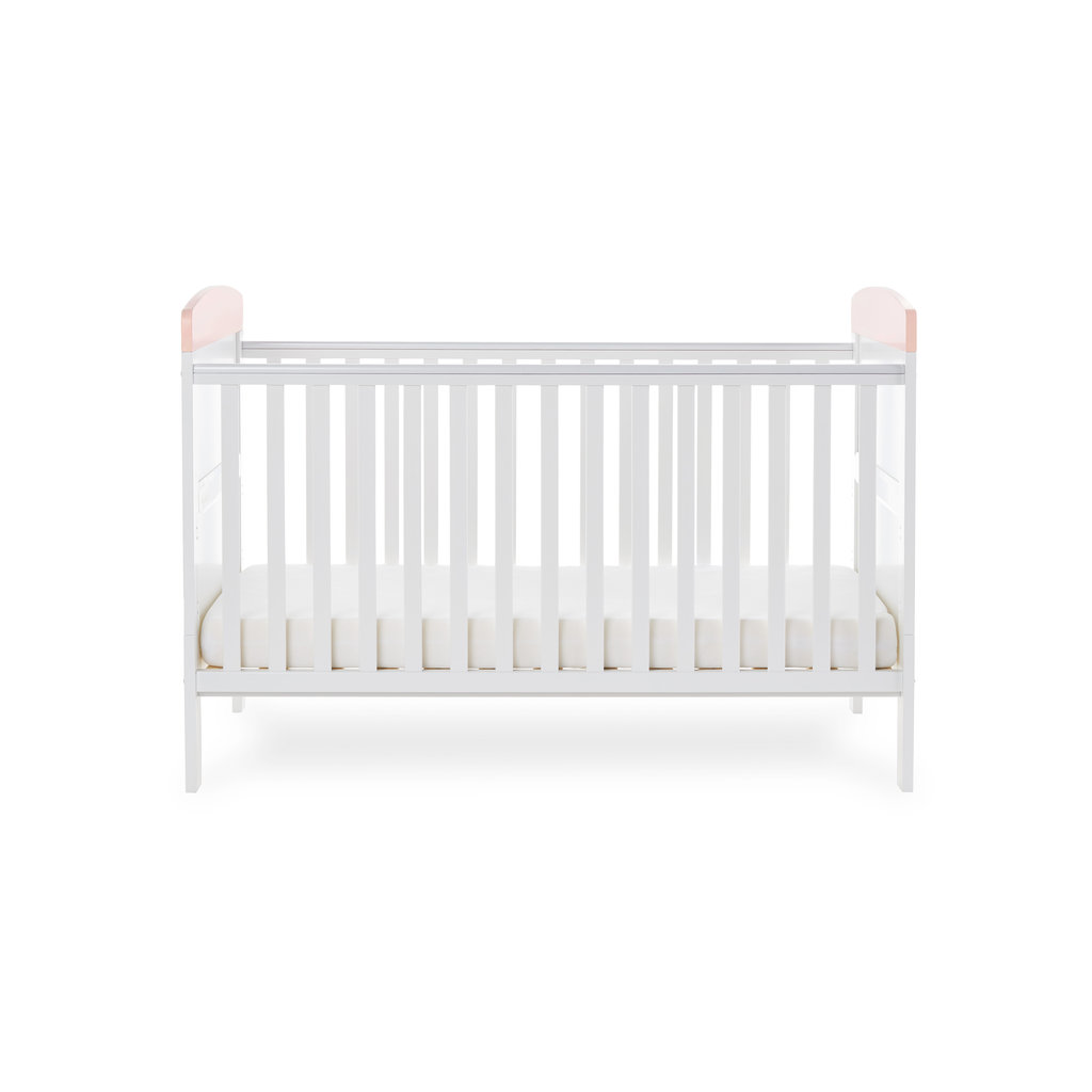 Obaby Grace Inspire Cot Bed- Water Colour Rabbit Pink