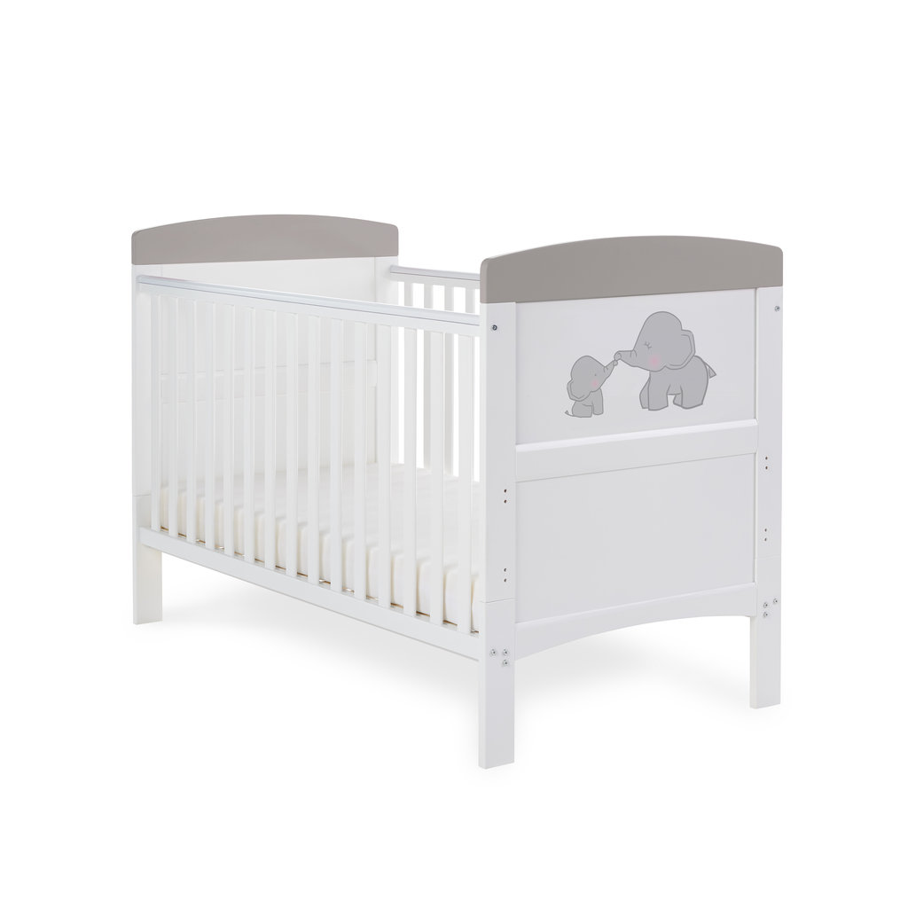 Obaby Grace Inspire Cot Bed- Me and Mini Me Elephants Grey