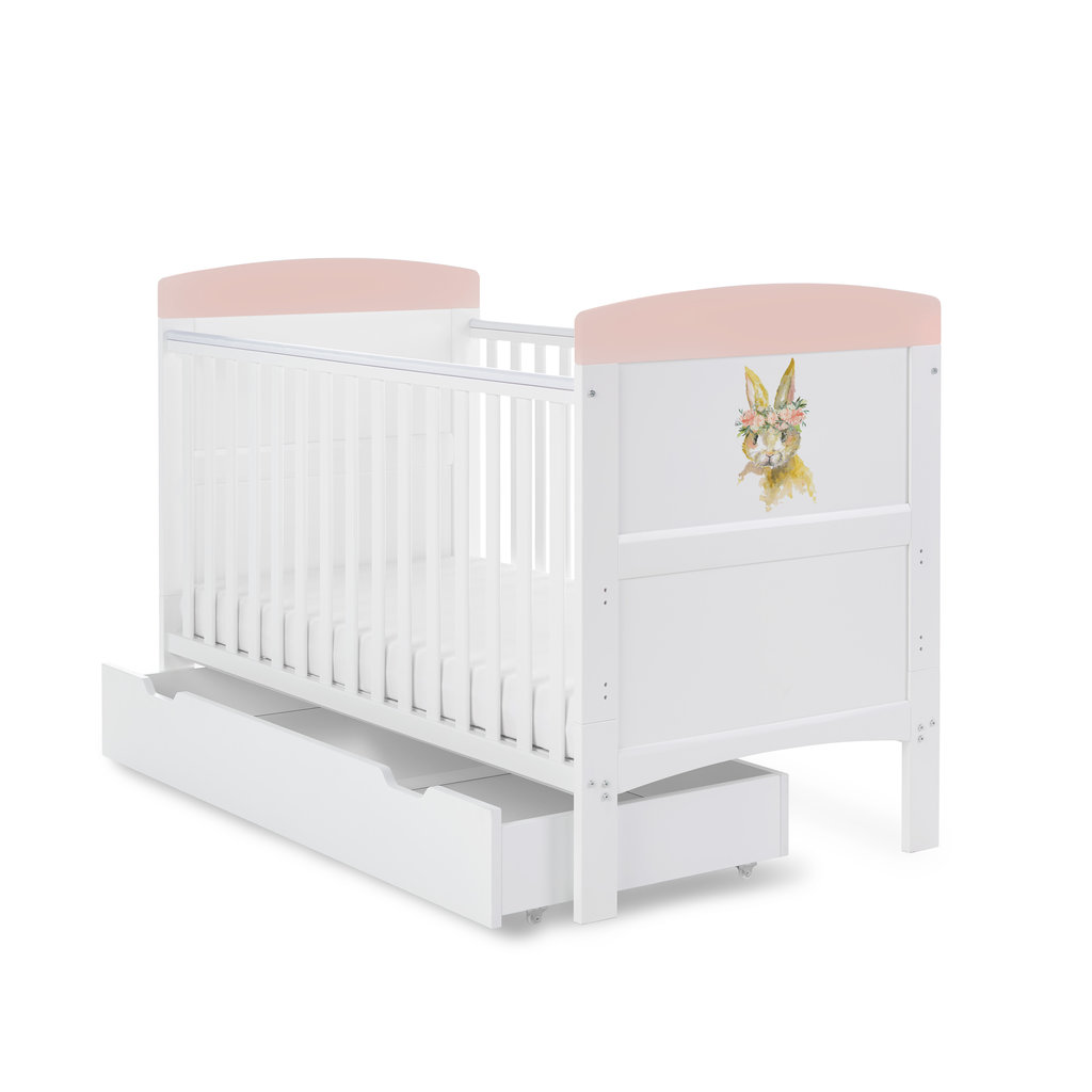 Obaby Grace Inspire Cot Bed & Underdrawer- Water Colour Rabbit - Pink