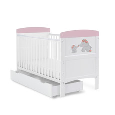 Obaby Grace Inspire Cot Bed & Underdrawer- Me & Mini Me Elephants - Pink