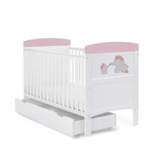 Obaby Obaby Grace Inspire Cot Bed & Underdrawer- Me & Mini Me Elephants - Pink