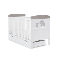 Obaby Grace Inspire Cot Bed & Underdrawer- Me & Mini Me Elephants - Grey