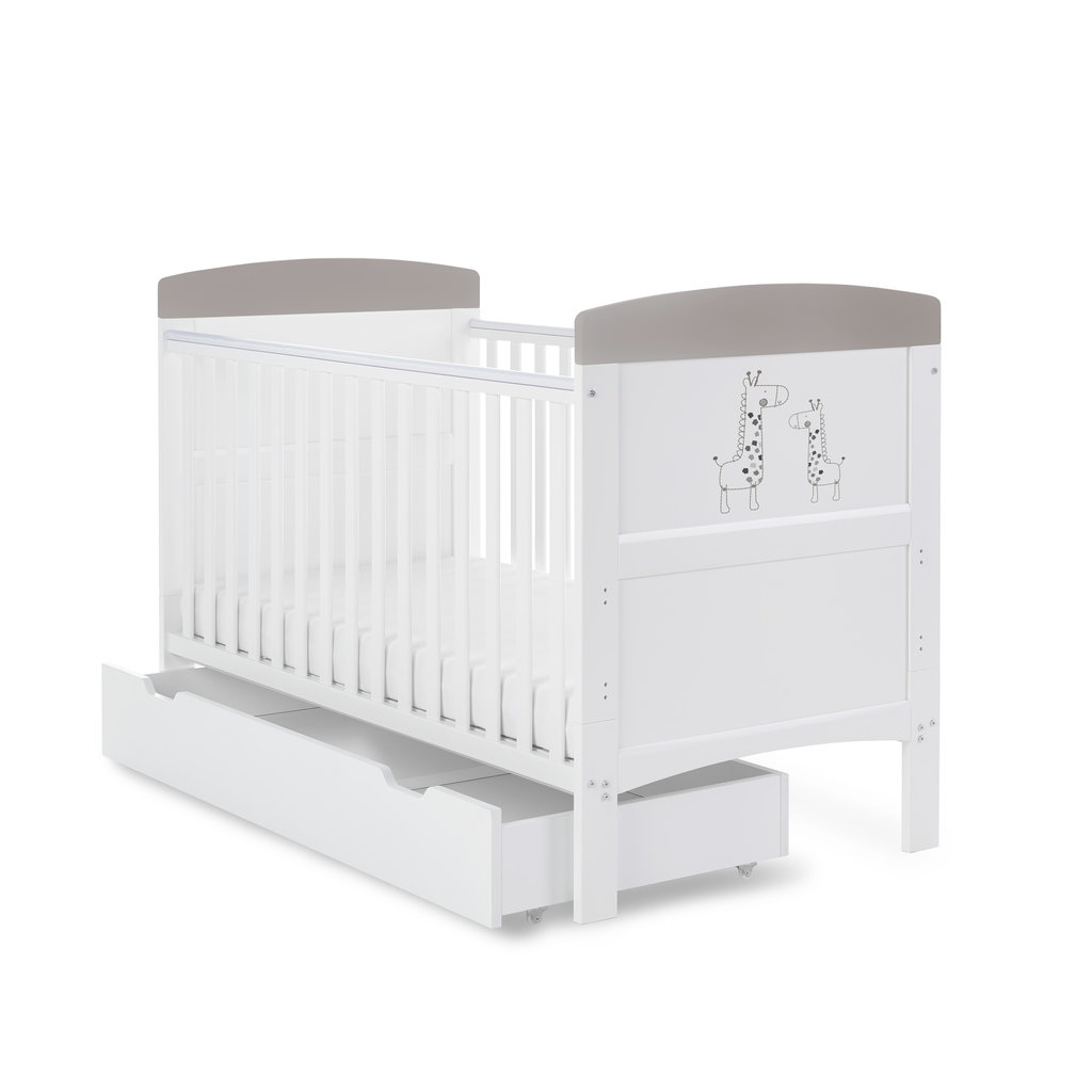 Obaby Grace Inspire Cot Bed & Underdrawer- Mummy & Me Giraffe - Grey