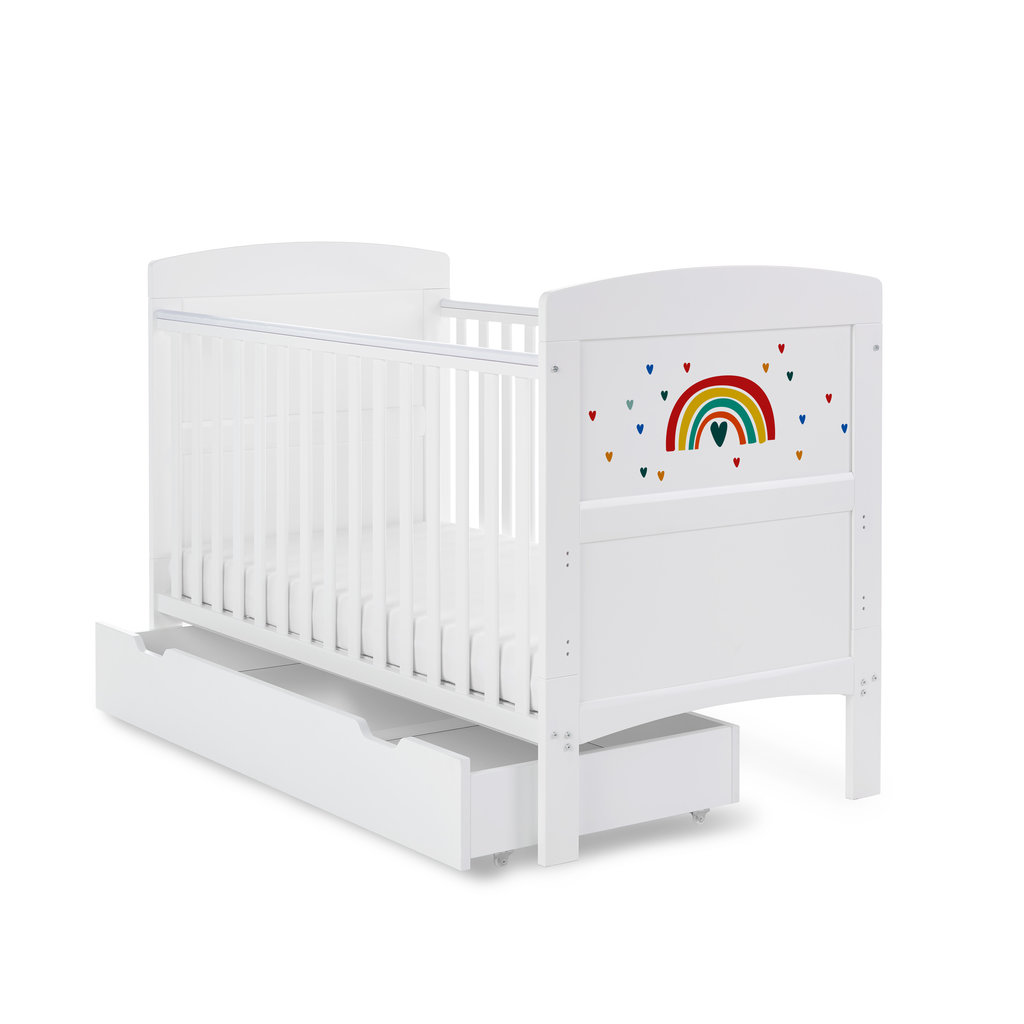 Obaby Grace Inspire Cot Bed & Underdrawer- Rainbow - Multicolour
